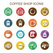 Coffee shop long shadow icons — Stock Vector