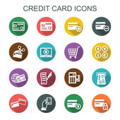 Credit card long shadow icons — Stock Vector