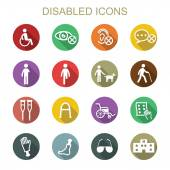 Disabled long shadow icons — Stock Vector