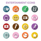 Entertainment long shadow icons — Stock Vector