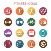 Fitness long shadow icons — Stock Vector