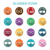 Glasses long shadow icons — Stok Vektör