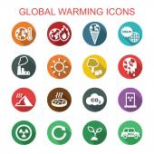 Global warming long shadow icons — Stock Vector