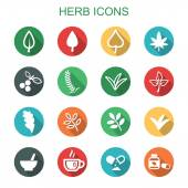 Herb long shadow icons — Stock Vector