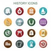 History long shadow icons — Stock Vector