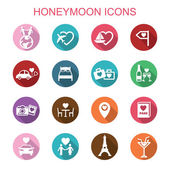Honeymoon long shadow icons — Vector de stock