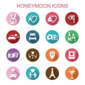 Honeymoon long shadow icons — Vettoriale Stock