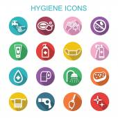 Hygiene long shadow icons — Stock Vector