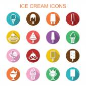 Ice cream long shadow icons — Stock Vector