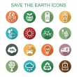 Save the earth long shadow icons — Stock Vector #62647871