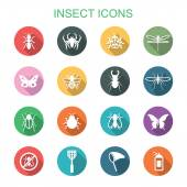 Insect long shadow icons — Stock Vector