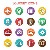 Journey long shadow icons — Stock Vector