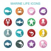 Marine life long shadow icons — Vecteur