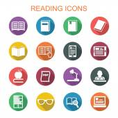 Reading long shadow icons — Stock Vector