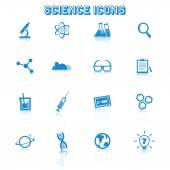 Science icons with reflection — Vector de stock