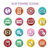 Software long shadow icons — Vector de stock