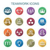 Teamwork long shadow icons — Vecteur