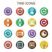 Time long shadow icons — Stock Vector