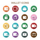Wallet long shadow icons — Stock Vector