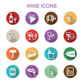 Wine long shadow icons — Stock Vector