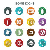 Bomb long shadow icons — Stock Vector