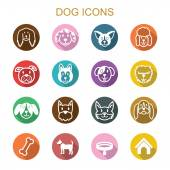 Dog long shadow icons — Stock Vector