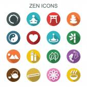 Zen long shadow icons — Stock Vector
