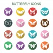 Butterfly long shadow icons — Stock Vector #63855541