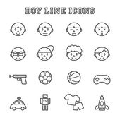 Boy line icons — Stock Vector