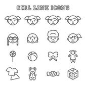 Girl line icons — Stock Vector