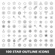 100 star outline icons — Stock Vector #67120235