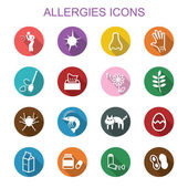 Allergies long shadow icons — Stock Vector