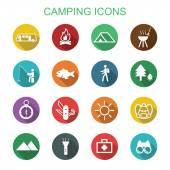 Camping long shadow icons — Stockvektor