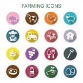 Farming long shadow icons — Stock Vector