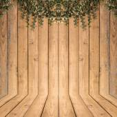 Tree on Wood planks texture background interior stand for presen — Photo