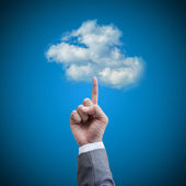 Hand man touch the cloud technology concept — Stock Photo