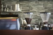 Interior coffee shop with coffee machine — Stock Photo