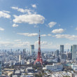 TOKYO, JAPAN - 19 FEBRUARY 2015 - The Tokyo tower in the Kanto region and Tokyo prefecture, is the first largest metropolitan area in Japan. Downtown Tokyo is very modern with many skyscrapers. — Stock Photo #77257128
