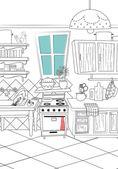 Kitchen cartoon style background — Stock Vector