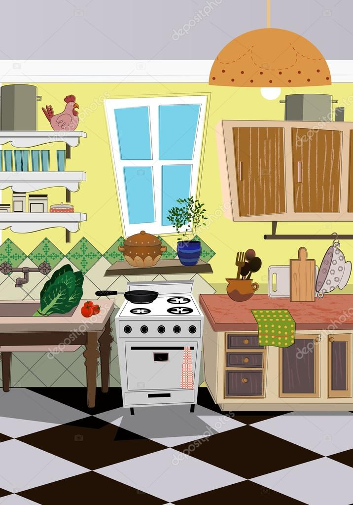 Fondo de estilo de dibujos animados de cocina vector de for Dibujos de cocina