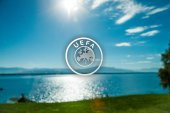 Geneva Lake UEFA headquarters view — Stock Photo