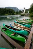 Canoes on the Lake Bohinj — Stock Photo
