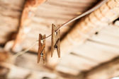 Wooden clothespins on rope — Stock Photo