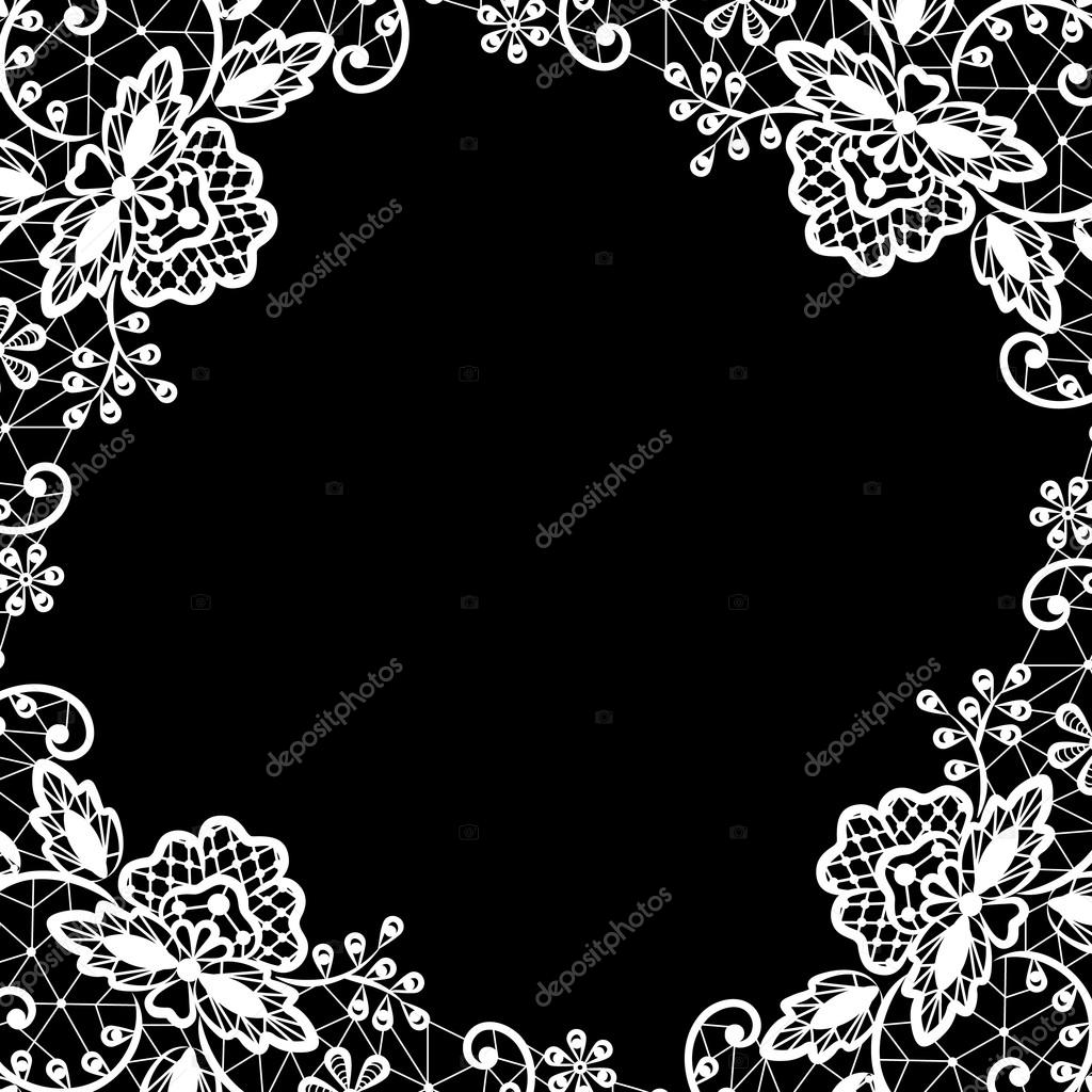 Encaje sobre fondo negro — Vector de stock © Prikhnenko ...