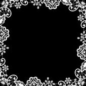 黒い背景に白いレース — ストックベクタ