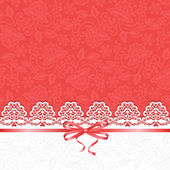 White lace on red background — Stock Vector