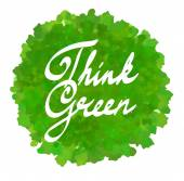 Think green on watercolor spot — Stock Vector