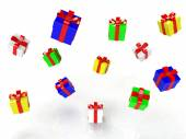 Gift box, with ribbon like a present. over white background 3d image — Stock Photo