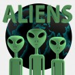 Постер, плакат: Aliens 3D effect rendering on white background
