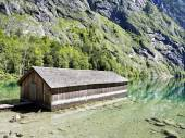 Boathouse at lake Obersee — Stock Photo